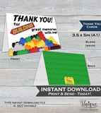 Printable Thank You Card, Building Block Birthday Thank You, Block Party Thanks, Folded Card, Birthday Building Memories INSTANT DOWNLOAD A1
