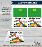 Printable Thank You Card, Building Block Birthday Thank You, Block Party Thanks, Folded Card, Birthday Building Memories  A1