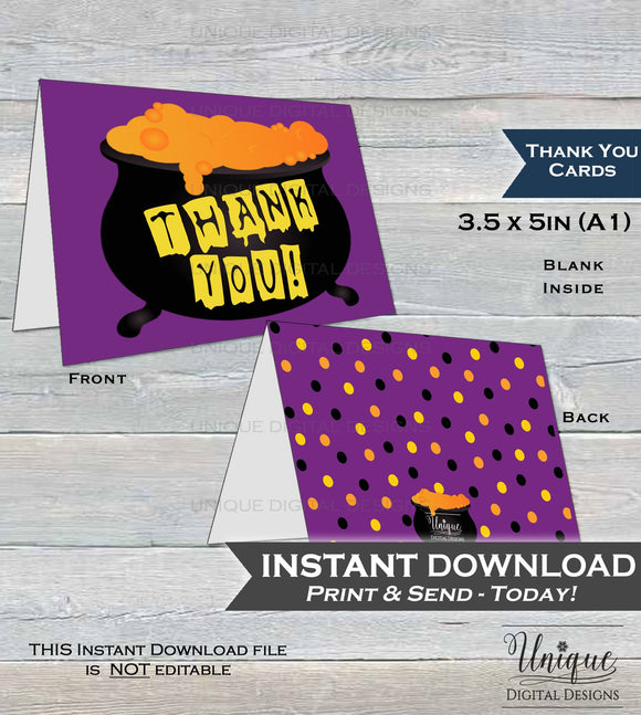 Halloween Thank You Card, Halloween Birthday Thank You, Witch Thanks, Folded Card, Spooky Cauldron Printable Thank You  A1