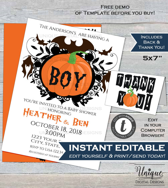 Editable Halloween Baby Shower Invitation, Baby Sprinkle, Baby Boy Invite, Little Pumpkin Bat Custom Printable Template INSTANT DOWNLOAD 5x7