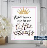 Little Princess Sign, Leave a Wish Sign, Glitter Gold Pink Pretty Princess Party Decoration, Printable Poster, INSTANT DOWNLOAD 11x14 8x10