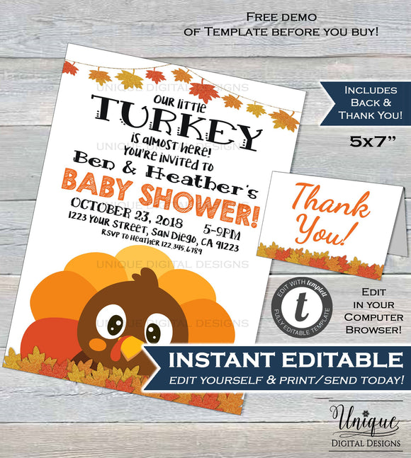 Little Turkey Baby Shower Invitation, Editable Baby Shower Baby Invite Thanksgiving Gender Neutral Printable Template INSTANT DOWNLOAD 5x7