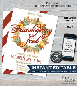 Friendsgiving Invitation Editable, Thanksgiving Feast Invitation, Friendsgiving Invite, Food Fall Festival Printable INSTANT DOWNLOAD 5x7