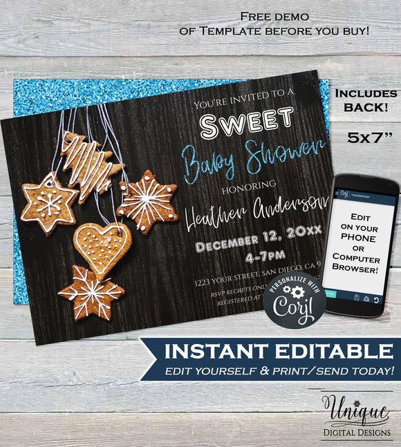Sweet Baby Shower Invitation, Editable Christmas Cookie Invitation, Boy Baby Shower Invite, Holiday Shower, Printable INSTANT ACCESS 5x7