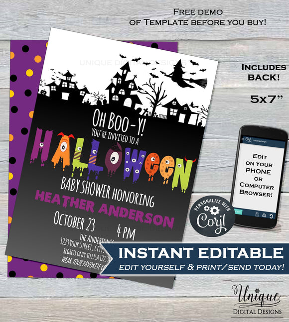Halloween Baby Shower Invitation, Editable Halloween Baby Boy, Oh Boo-y Baby Shower Costume Party Invite, diy Printable INSTANT DOWNLOAD 5x7