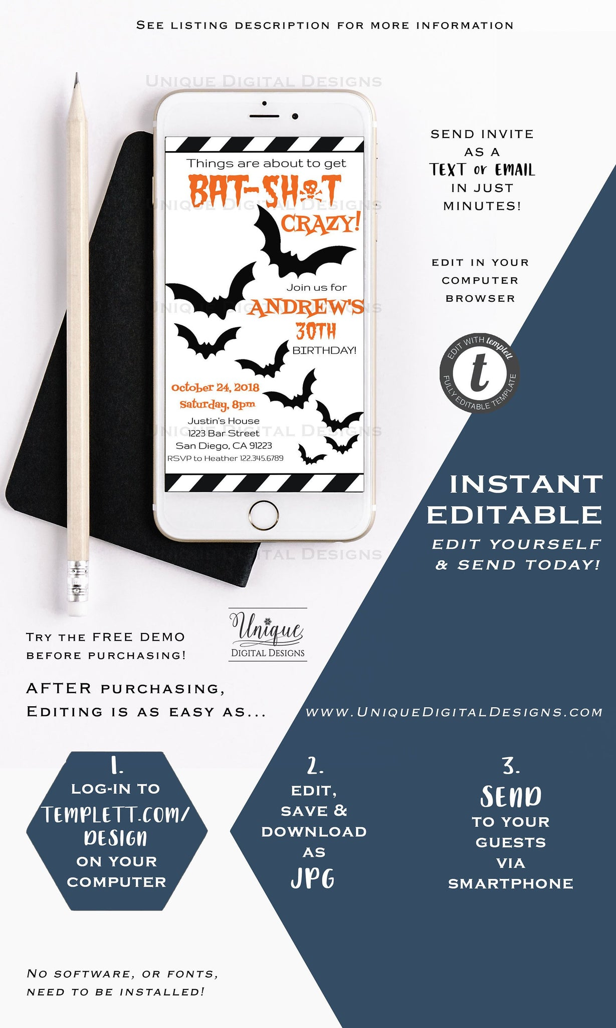 Batshit Crazy Birthday Invitation ANY Age 30th Editable Halloween Electronic Invite Digital Smartphone