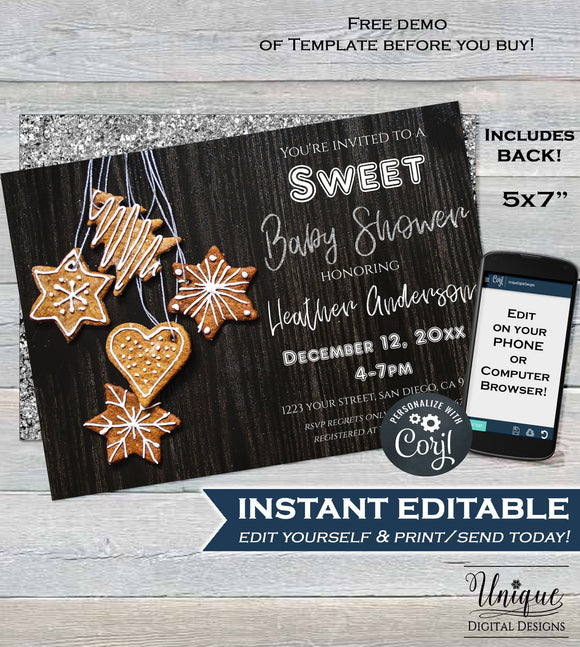 Christmas Baby Shower Invitation, Editable Christmas Cookie Invitation, Silver Gender Neutral Holiday Invite, Printable INSTANT DOWNLOAD 5x7