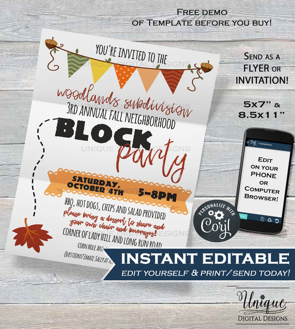 Neighborhood Block Party Invite, Editable Street Party Printable Invitation Neighborhood BBQ Picnic Fall Party,   + Flyer