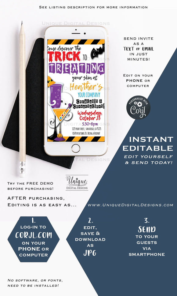Cocktails and Conversation Invitation Rodan and Fields Editable Halloween Treat RF Electronic Invitation Digital Smartphone INSTANT DOWNLOAD