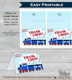 Train Thank You Card, Train Birthday, Chugga Chugga Thank Choo Party, Thanks Folded Card, Printable Birthday Train Party  A1