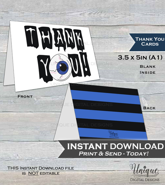 Thank You Card Halloween Birthday Printable Thank You Spooky Scary Party Thanks Folded Card, Birthday Thank you Eyeball  A1