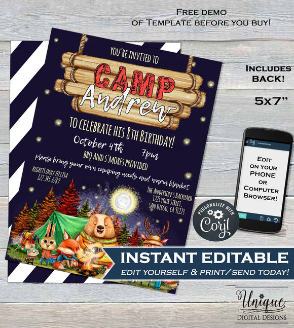 Camping Birthday Invitation, Editable Glamping Invitation, Backyard Bonfire Invite, Camping Sleepover Smores Campout Party INSTANT DOWNLOAD