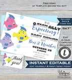 ofishally Baby Shower, Editable Fishing Baby Shower Invitation, Boy Expecting Baby Fish Hooked Printable Personalized INSTANT EDITABLE 5x7