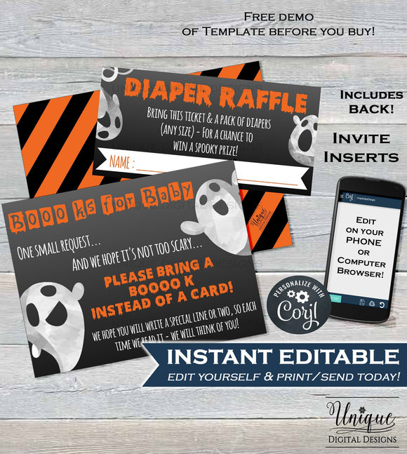 Diaper Raffle Ticket + Books for Baby Shower Invitation Inserts, Editable Halloween Baby Shower Insert Card Printable Ghost