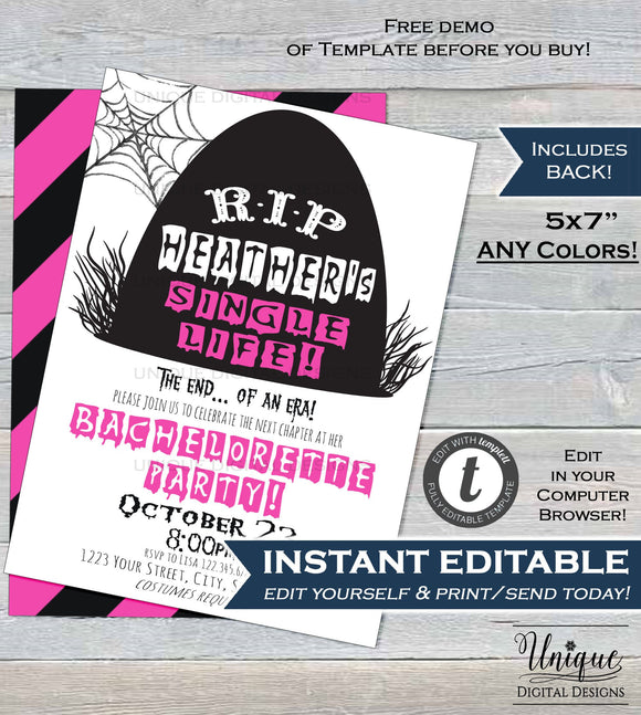 Editable Halloween Bachelorette Party, RIP Single Life Invitation, Adult Girls Night Wedding Costume Printable Template INSTANT DOWNLOAD 5x7