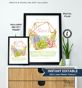 Baby Shower Welcome Sign, Watercolor Succulent Baby Shower Poster, Boho Chic Decoration, diy Printable Template INSTANT EDITABLE 16x20 8x10