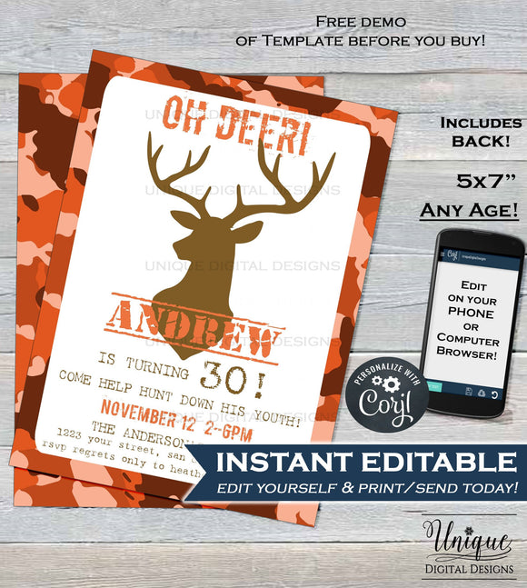 Hunting Birthday Invitation, Editable Hunting Party Invitation, Oh Deer Printable Invite 30th Hunting Theme Party Corjl INSTANT DOWNLOAD 5x7