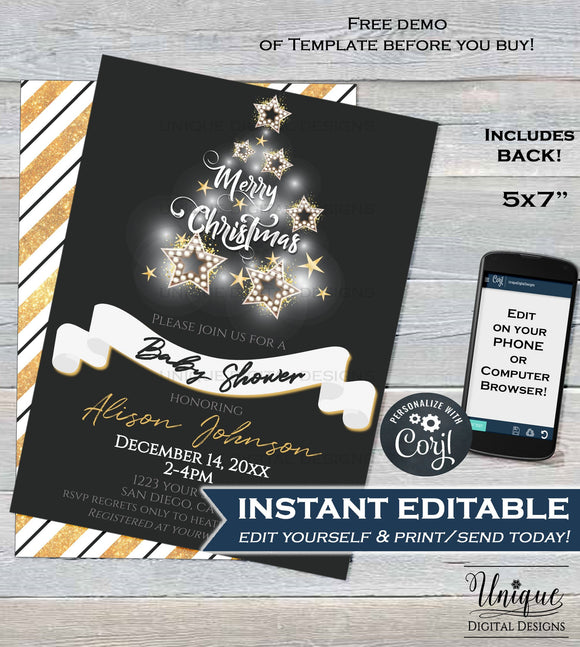 Christmas Baby Shower Invitation, Editable Baby Shower Gender Neutral Invite, Sparkle Holiday Baby  Printable