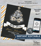 Christmas Baby Shower Invitation, Editable Baby Shower Gender Neutral Invite, Sparkle Holiday Baby Template Printable INSTANT DOWNLOAD 5x7