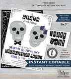 Halloween Engagement Party Invitation, Editable til Death do us Party Invite, Wedding Bone Skull Printable diy Template INSTANT DOWNLOAD 5x7