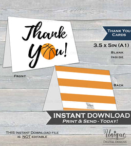 Basketball Thank You Card, Sport Basketball Birthday, Basketball Thank You, Thanks Folded Card, Printable Birthday Party INSTANT DOWNLOAD A1