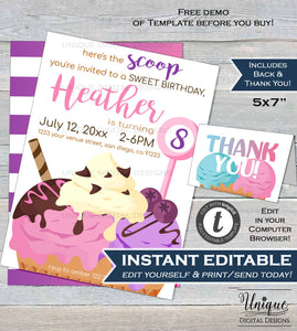 Ice Cream Party Invitation Here's the Scoop Girl Ice Cream Theme Birthday Invite Editable Sweet Party ANY Age Printable INSTANT DOWNLOAD 5x7