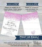 Girls Baby Shower Invitations, Pink Glitter Baby Shower, Editable Baby Girl Sprinkle, DIY Custom Printable Template, INSTANT DOWNLOAD 5x7