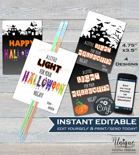 Glow Stick Favor Tags, A little Light for your halloween night, Kids Editable Halloween Favor Tags, Printable Custom Template INSTANT ACCESS