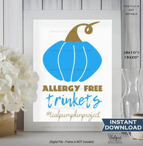 Teal Pumpkin Project Sign, Trick or Trinket Non-Food Treats Halloween Food Allergy Sign Digital Printable Poster