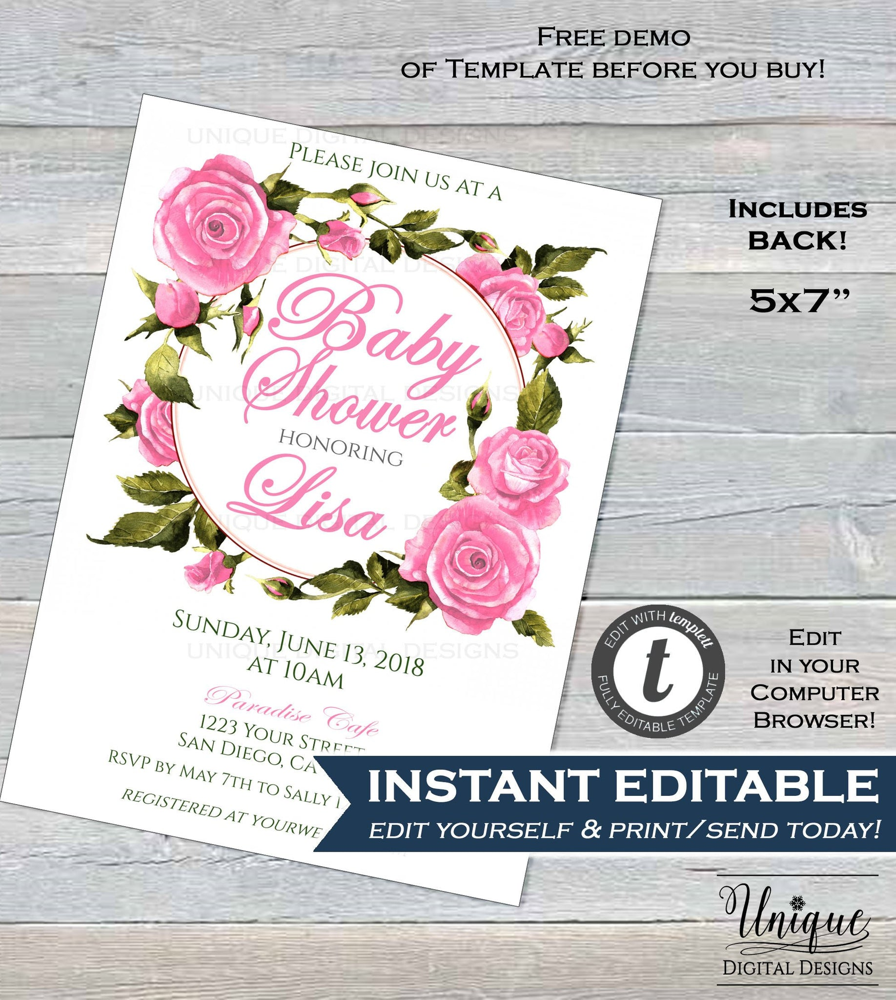 Pink rose baby shower invitation editable baby girl invite party pre pink rose baby shower invitation editable baby girl invite party pretty pink floral theme filmwisefo
