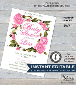 Pink Rose Baby Shower Invitation Editable Baby Girl Invite Party Pre