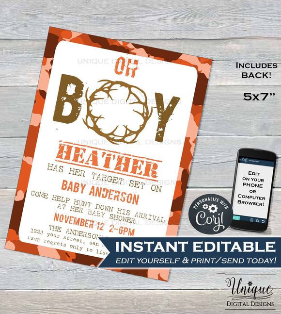 Hunting Baby Shower Invitation, Editable Hunting Baby Boy Invite Oh Deer Baby Shower Printable Hunting Theme, Camo Baby INSTANT DOWNLOAD 5x7