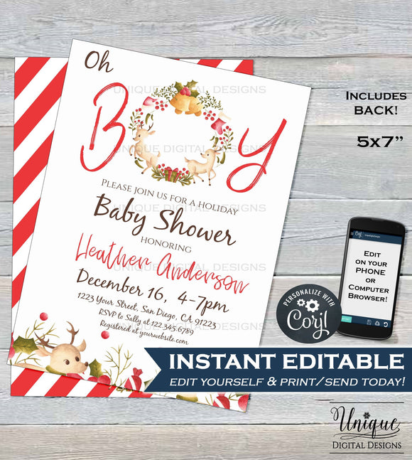 Christmas Baby Shower Invitation, Editable Baby Sprinkle Baby Boy Invite, Oh Boy Christmas Holiday Template, Printable INSTANT DOWNLOAD 5x7
