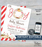 Christmas Baby Shower Invitation, Editable Baby Sprinkle Baby Boy Invite, Oh Boy Christmas Holiday , Printable