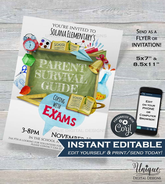 Parent Survival Guide Flyer, Coping with Exams Editable PTA Invitation, Printable School Invitation pto meeting INSTANT DOWNLOAD 5x7 8.5x11