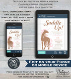 Unicorn Birthday Invitation, Rustic Horse Party, Editable Unicorn Birthday Invite Girl Western ANY Age Custom Printable