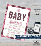 Oh Baby Hunting Baby Shower Invitation, Editable Hunting Baby Girl Invite Deer Baby, Printable Hunting Theme, Camo Baby INSTANT DOWNLOAD 5x7