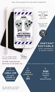 Couples Shower Invitation Until Death do us Part Editable Halloween Wedding Electronic Invite Digital Smartphone Invitation INSTANT DOWNLOAD
