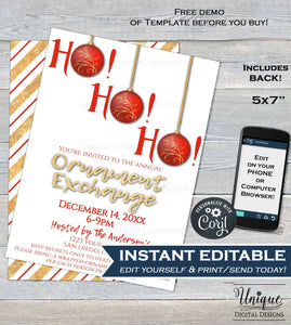 Christmas Ornament Exchange Invitation, Editable Ornament Swap Invite, Ho Ho Ho Holiday Party Decoration Gift Printable