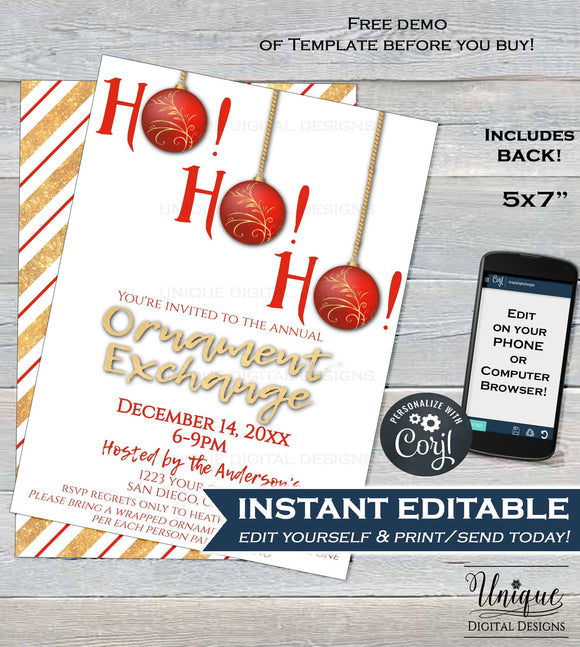 Christmas Ornament Exchange Invitation, Editable Ornament Swap Invite, Ho Ho Ho Holiday Party Decoration Gift Printable INSTANT DOWNLOAD 5x7