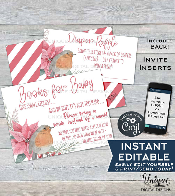 Rustic Diaper Raffle Ticket, Books for Baby Shower Invitation Inserts, Editable Christmas Baby Shower Insert Card Printable