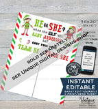 Editable Christmas Elf Gender Reveal Party Old Wives Tales Sign, He or She Gender Reveal Board, Printable Template INSTANT DOWNLOAD 16x20