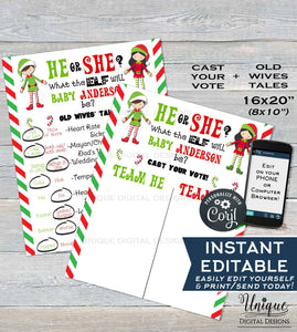 Christmas Elf Gender Reveal Party Old Wives Tales + Cast your Vote Signs, He or She Gender Reveal Boards, Printable INSTANT DOWNLOAD 16x20