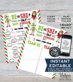 Christmas Elf Gender Reveal Party Old Wives Tales + Cast your Vote Signs, He or She Gender Reveal Boards, Printable