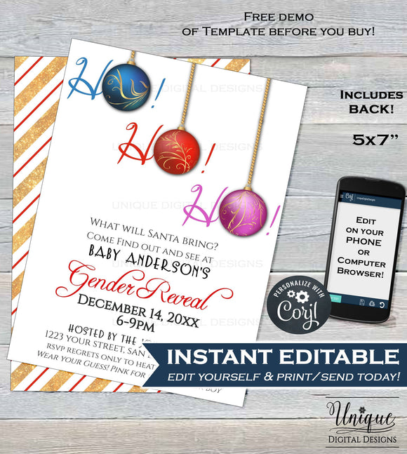 Christmas Gender Reveal Invitation, Editable What will Santa Bring Holiday Invite Party, Ho Ho Ho He or She Printable INSTANT DOWNLOAD 5x7