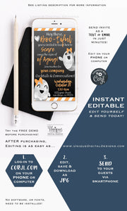 Rodan and  Invitations, Halloween Hello Boo-tiful Ghost Editable  Business Electronic Invitation Digital Smartphone