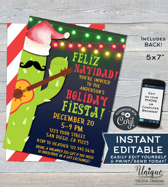 Editable Feliz Navidad Invitation, Holiday Fiesta Invitation, Mexican Christmas Taco bout a Party, Printable Template INSTANT DOWNLOAD 5x7