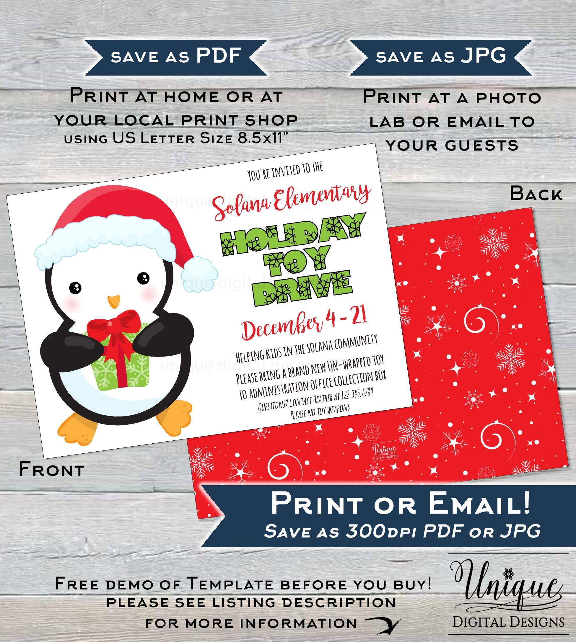 Holiday Toy Drive Flyer Editable Toy Collection Invitation