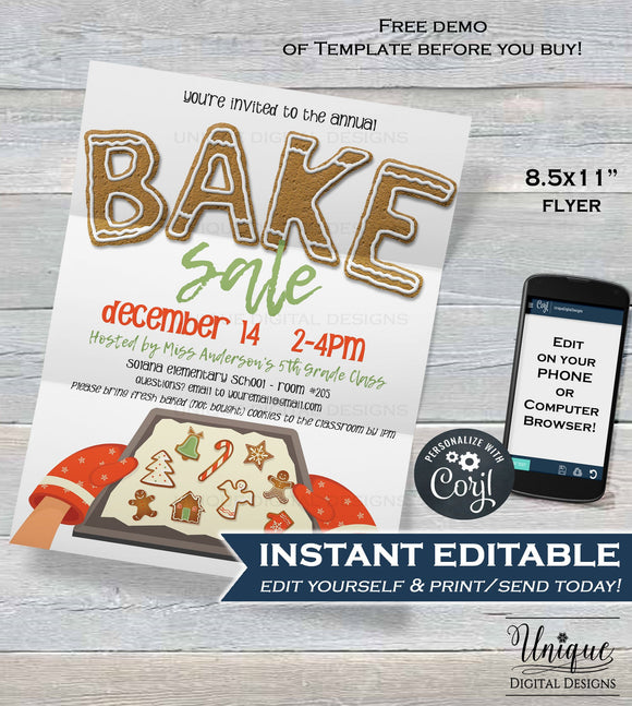 Bake Sale FLYER , Editable Christmas Invitation Printable Holiday Cookie Fundraiser, Community Church School
