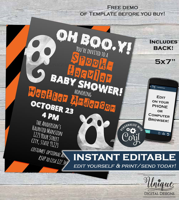 Editable Halloween Baby Shower Invitation, Halloween Baby Boy, Oh Boo-y Baby Ghosts Costume Party Invite, diy Printable INSTANT DOWNLOAD 5x7